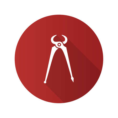 Carpenter's end cutting pliers. Flat design long shadow glyph icon. Vector silhouette illustration