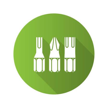 Screwdriver bits flat design long shadow glyph icon. Vector silhouette illustration Illustration