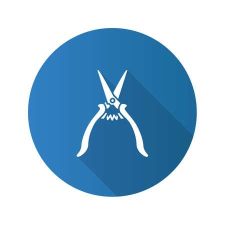 Construction scissors flat design long shadow glyph icon. Vector silhouette illustration