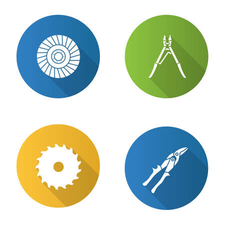 Construction tools flat design long shadow glyph icons set. Circular saw blade, crimping tool, abrasive flap wheel, tin snips vector silhouette illustration.