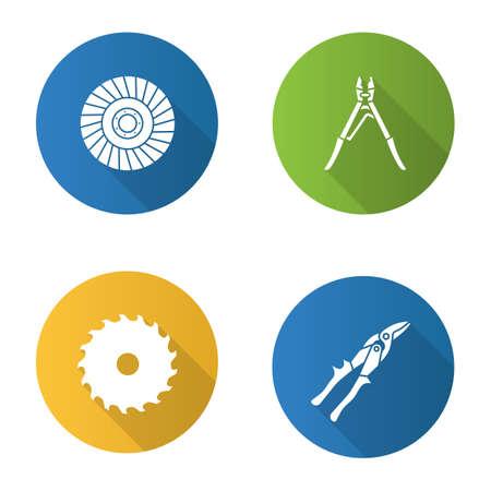 Narzędzia budowlane Płaska konstrukcja zestaw ikon glifów długi cień. Piła tarczowa, zaciskarka, tarcza ścierna, nożyce do cyny ilustracja sylwetka wektor.