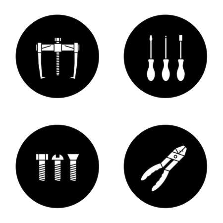 Construction tools glyph icons set. Bearing puller, set of screwdrivers, metal bolts, combination pliers. Vector white silhouettes illustrations in black circles