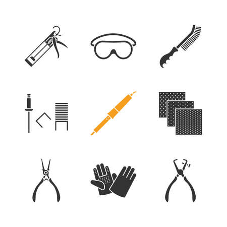 Construction tools glyph icons set. Caulking gun, goggles, wire brush, stapler pins, emery paper, construction gloves, solderer, stripping tool. Silhouette symbols vector isolated illustration.