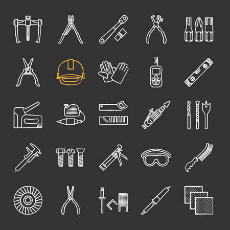 Construction tools chalk icons set. Renovation and repair instruments. Emery paper, solderer, ratchet, bearing puller, spirit level isolated vector chalkboard illustrations.