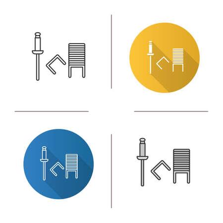 Agrafeuse Icône Design plat, styles linéaire et couleur. Staples. Illustrations vectorielles isolées