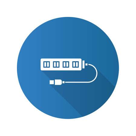 USB hub flat design long shadow glyph icon. Multi plug. Vector silhouette illustration Vectores