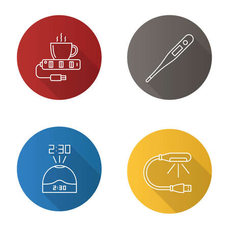 Gadgets flat linear long shadow icons set. USB lamp and cup warmer, projection clock, electronic thermometer. Vector outline illustration Illustration