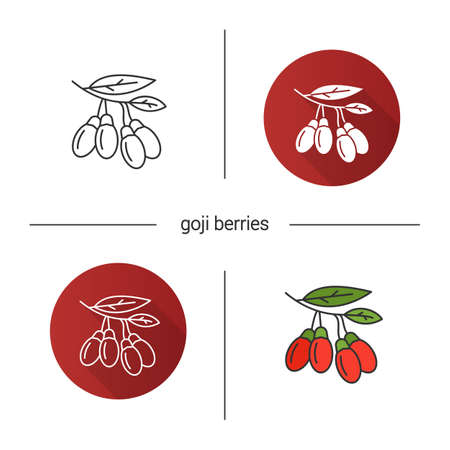 Fresh goji berries icon vector illustration set