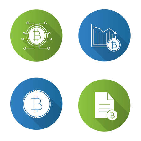 Bitcoin flat design long shadow glyph icons set. Bitcoin document, falling, payment. Vector silhouette illustration Ilustracja
