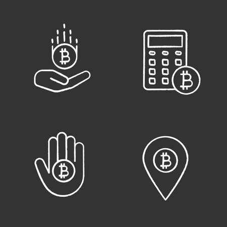 Bitcoin chalk icons set. Bitcoin payments, ATM location, calculations. Isolated vector chalkboard illustrations