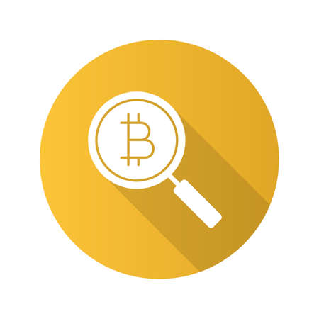 Bitcoin research flat design long shadow glyph icon. Magnifying glass with cryptocurrency. Exploring bitcoin. Vector silhouette illustration Ilustracja