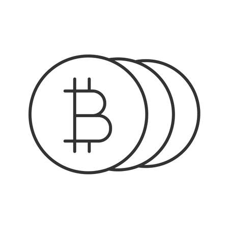 Bitcoins linear icon. Cryptocurrency. Thin line illustration. Contour symbol. Vector isolated outline drawing