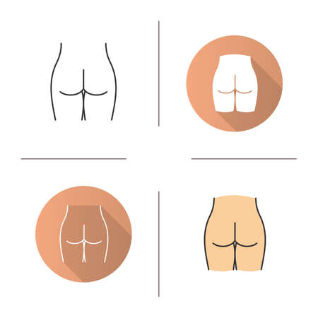 Woman's buttocks icon. Flat design, linear and color styles. Butt. Isolated vector illustrations Vectores