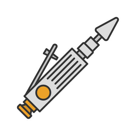 Air-operated valve grinder color icon. Isolated vector illustration