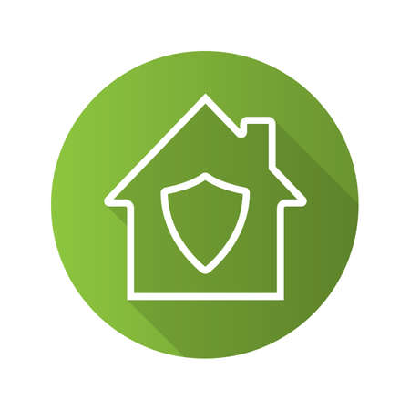 Home guard flat linear long shadow icon. House with shield inside. Private property under protection. Vector outline symbol