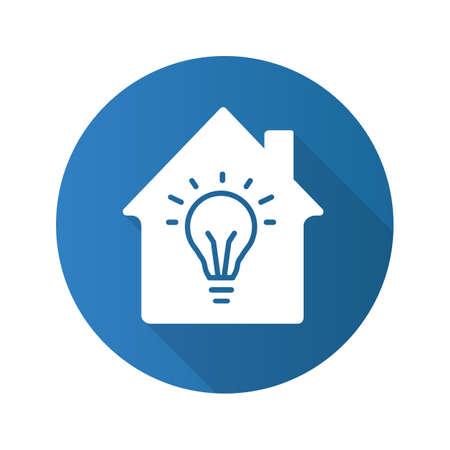 Home electrification flat design long shadow glyph icon. House with light bulb inside. Vector silhouette illustration Ilustração