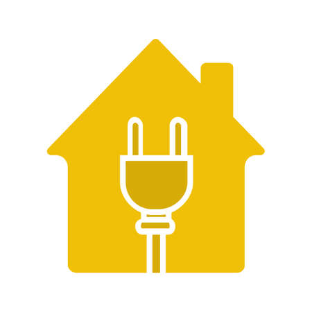 House with wire plug glyph color icon. Silhouette symbol on white background. Home electrification. Negative space. Vector illustration