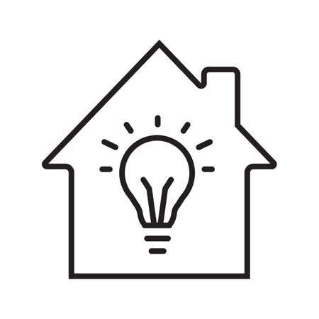 Home electrification linear icon. Thin line illustration. House with light bulb inside. Contour symbol. Vector isolated outline drawing Ilustração