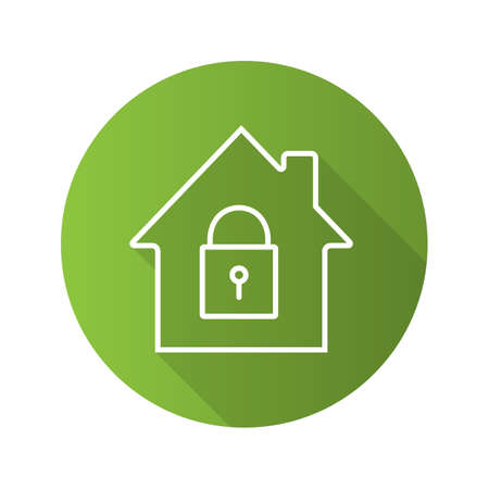 Locked house flat linear long shadow icon. Home protection. Vector outline symbol Illustration