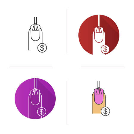 Nail salon services prices icon. Flat design, linear and color styles. Nail polishing with dollar sign. Isolated vector illustrations Archivio Fotografico - 95010755