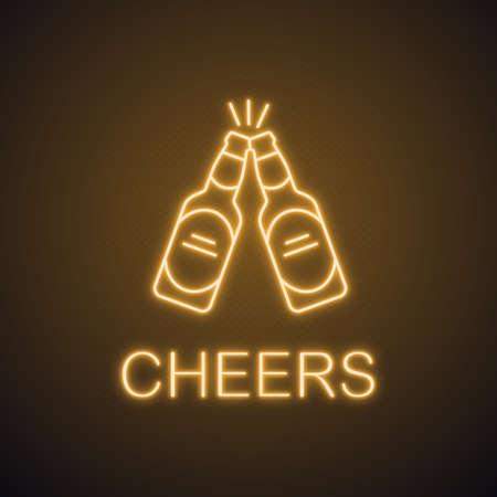Toasting beer bottles neon light icon. Pub glowing sign. Cheers. Vector isolated illustration Ilustração Vetorial