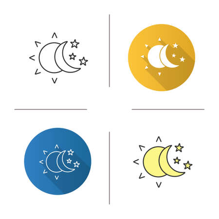 Sun and moon with stars icon. Flat design, linear and color styles. Day and night. Isolated vector illustrations