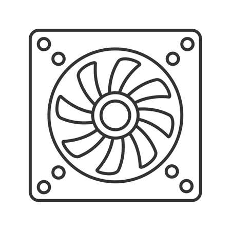 Exhaust fan linear icon. Conditioning. Thin line illustration. Air ventilation. Contour symbol. Vector isolated outline drawing