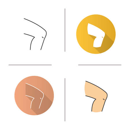 Knee icon. Flat design, linear and color styles. Isolated vector illustrations