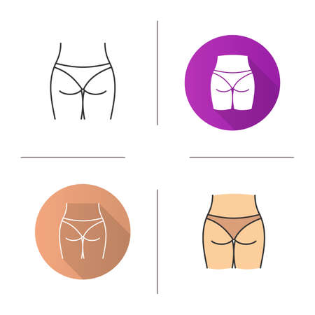 Woman's buttocks icon. Flat design, linear and color styles. Butt. Isolated vector illustrations Ilustração