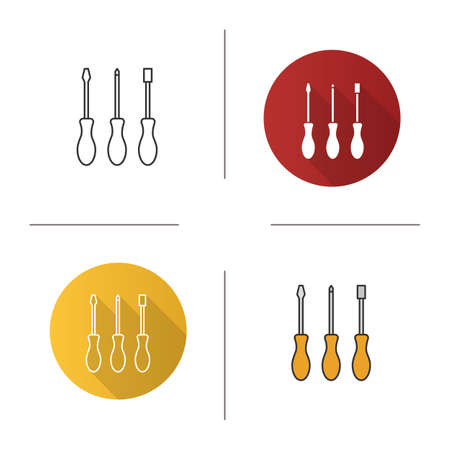 Set of screwdrivers icon. Flat design, linear and color styles. Turn-screws. Isolated vector illustrations