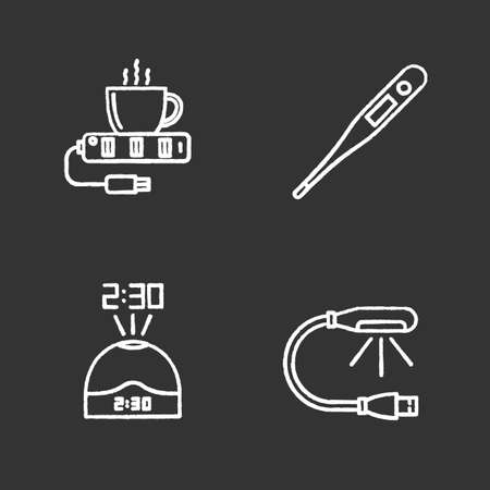 Gadgets chalk icons set. USB lamp and cup warmer, projection clock, electronic thermometer. Isolated vector chalkboard illustrations Illustration
