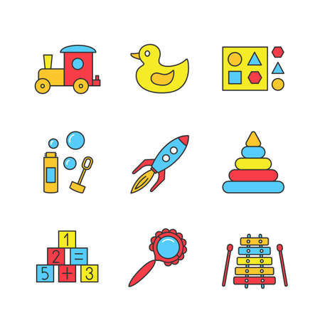 Kids toys color icons set. Train, rubber duck, shape sorter toy, bubble blower, rocket, pyramid, math blocks, rattle, xylophone. Isolated vector illustrations