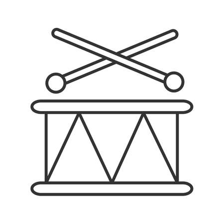 Toy drum linear icon. Thin line illustration. Contour symbol. Vector isolated outline drawing