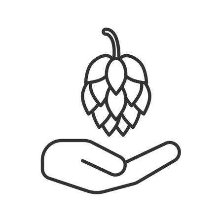 Open hand with hop cone linear icon. Eco products. Thin line illustration. Brewing. Contour symbol. Vector isolated outline drawing Çizim