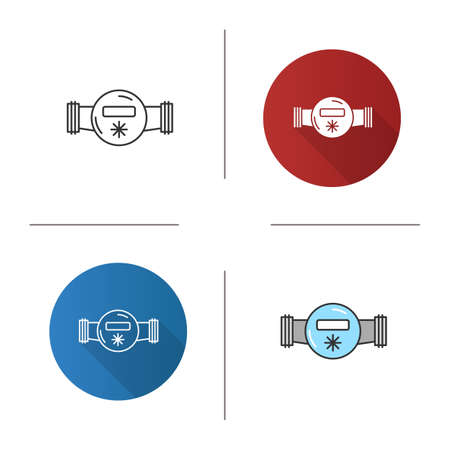 Water meter icon. Flat design, linear and color styles. Isolated vector illustrations