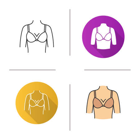 Female breast icon. Flat design, linear and color styles. Bust. Isolated vector illustrations