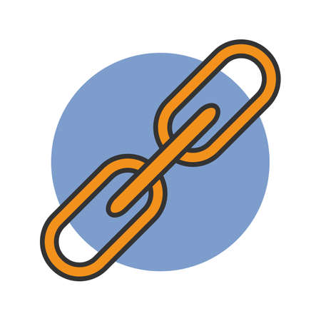 Link color icon. Hyperlink. Blockchain. Connection. Isolated vector illustration