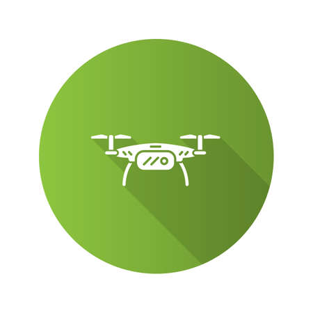 Quadrocopter flat design long shadow glyph icon. Drone. Copter. Vector silhouette illustration
