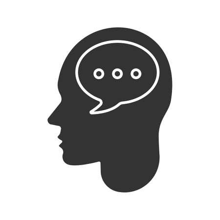 Cabeza humana con icono de glifo de burbuja de discurso. Pensando. Símbolo de silueta Diálogo interno Espacio negativo. Vector ilustración aislada Logos