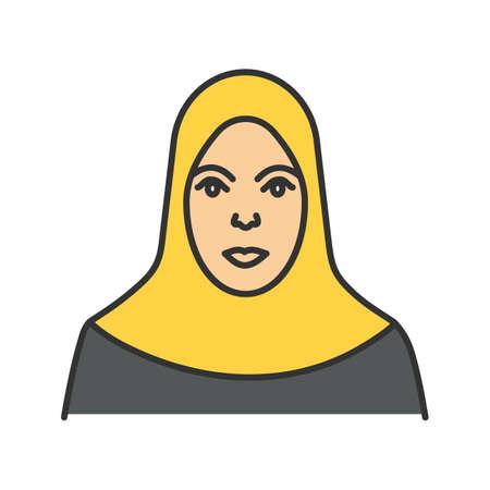 Muslim woman colored icon.