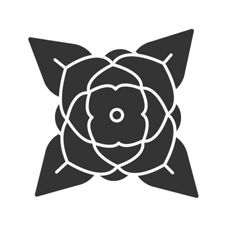 Blooming rose glyph icon. Silhouette symbol. Rosebud. Negative space. Vector isolated illustration