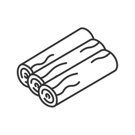 Three wood logs linear icon. Campfire wood. Thin line illustration. Firewood contour symbol. Vector isolated outline drawing