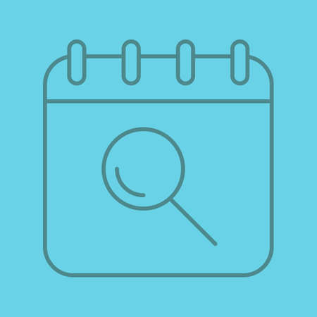 Search in calendar linear icon. Calendar page with loupe. Thin line outline symbols on color background. Vector illustration