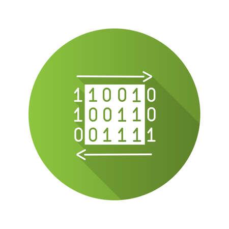 Data transfer flat design long shadow glyph icon. Binary code. Computing. Digital data. Vector silhouette illustration