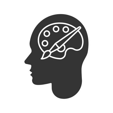 Human head with palette and brush glyph icon. Artist. Silhouette symbol. Creative mind. Negative space. Vector isolated illustration