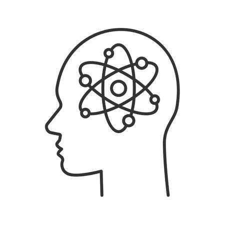 Human head with atom inside linear icon. Genius. Thin line illustration. Scientific thoughts. Contour symbol. Vector isolated outline drawing Vettoriali