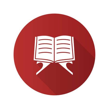 Open quran book flat design long shadow glyph icon. Islamic religion. Koran. Vector silhouette illustration