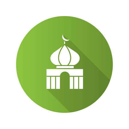 Mosque flat design long shadow glyph icon. Islamic culture. Muslim worship place. Vector silhouette illustration Illustration