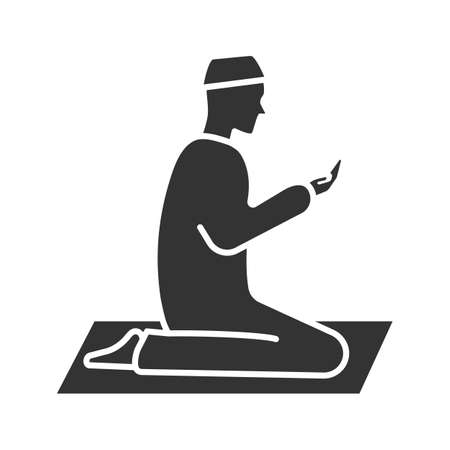 Praying muslim man glyph icon. Worship. Islamic culture. Silhouette symbol. Negative space. Vector isolated illustration