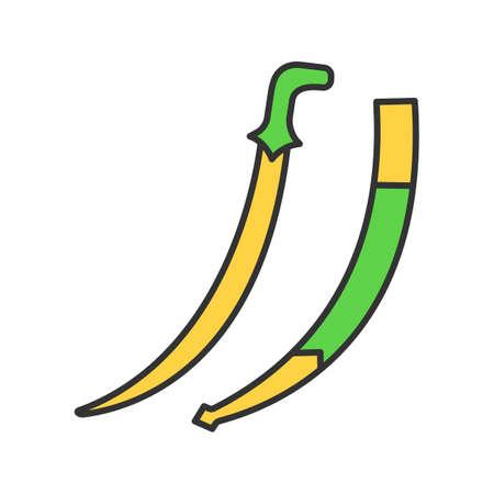 Scimitar sword color icon. Sabre. Muslim weapon. Isolated vector illustration Vettoriali